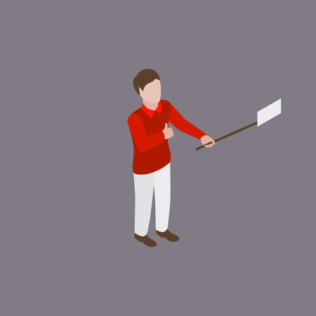 white pants: Young man in red shirt and white pants making selfie on phone Illustration
