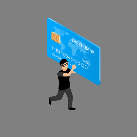 stolen identity: Thief running with credit card isometric people  illustration Illustration