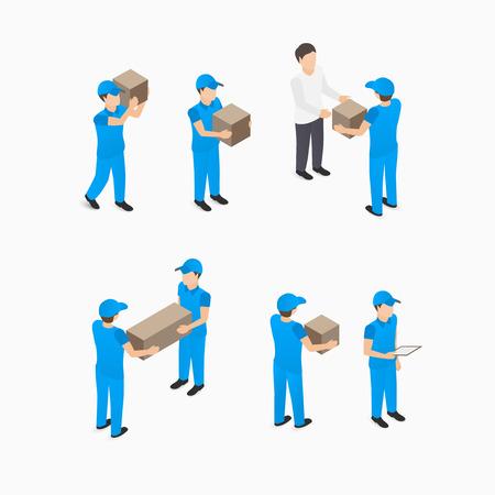 Set di servizio di consegna uomo con le scatole in blu illustrazione isometrica Vettoriali