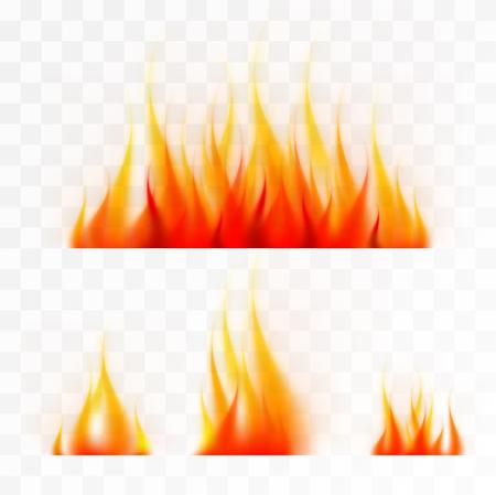 Conjunto de llamas de fuego aislada, buen trabajo sobre fondo claro