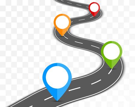 winding road: Road path on transparent background with pin pointer illustration