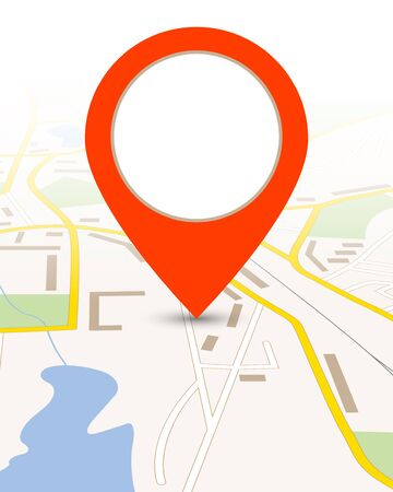 red pin: Map gps background with big red pin pointer illustration