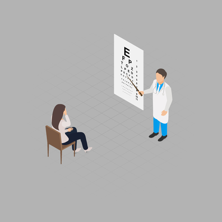 eye exams: Eye check up health test isometric illustration Illustration