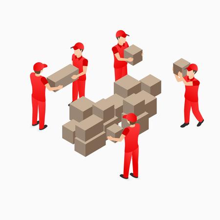 boite carton: travailleurs d'entrepôt de chai en rouge avec boîte illustration isométrique