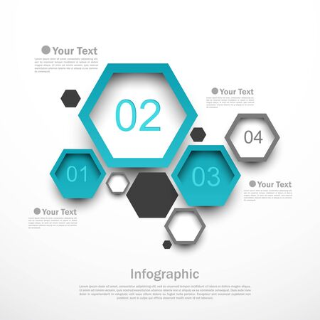 hexagon: Hexagon design infographic template with four options illustration