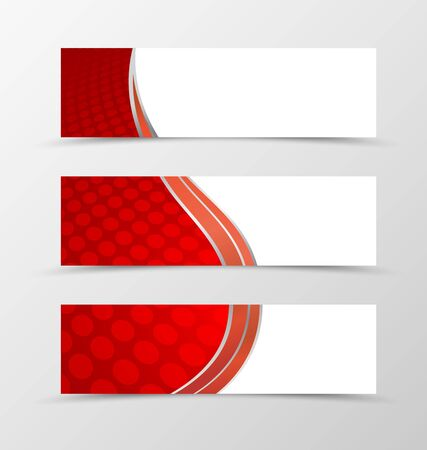 red banner: Set of banner circle grid design. Red banner for header. Design of banner in circle surface style. Vector illustration