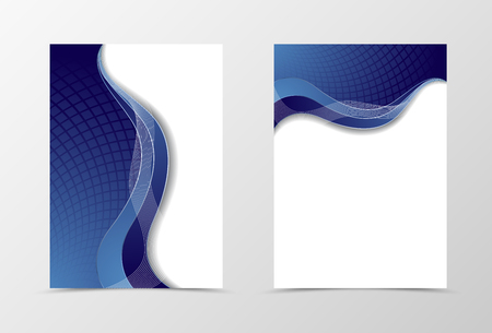 blue design: Grid flyer template design. Abstract flyer template in blue color with silver lines. Netting flyer design. Vector illustration