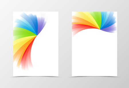 color spectrum: Rainbow flyer template design. Abstract flyer template in rainbow color. Spectrum flyer design. Vector illustration Illustration
