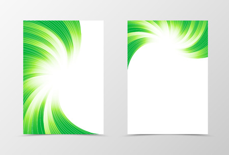 cover page: Flyer template swirl design. Abstract flyer template in green colors with silver lines. Bright wavy flyer design. Vector illustration