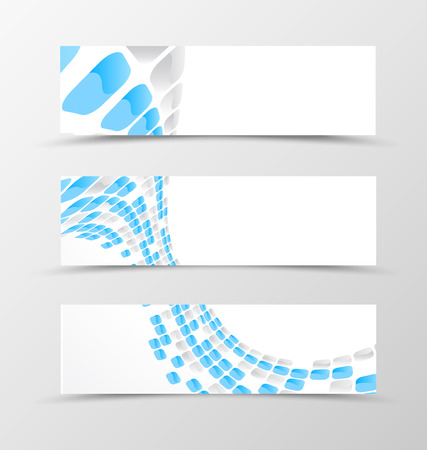 mottled: Set of banner wave design. Light banner for header with blue and gray mottled rounded squares. Design of banner in geometric style. Vector illustration