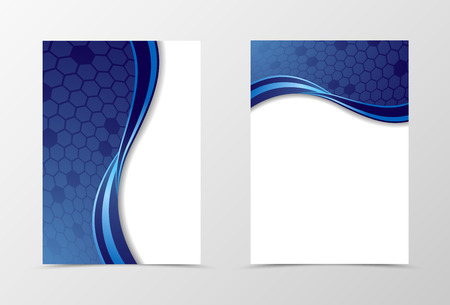 Conception de modèle de dépliant de grille. Modèle de prospectus abstrait en couleur bleue avec des hexagones. Conception de prospectus ondulatoire. Illustration vectorielle