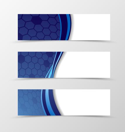 Zestaw projektu siatki sztandarowej. Niebieski sztandar na nagłówek z sześciokątną powierzchnią. Projekt transparentu w stylu fali. Ilustracji wektorowych