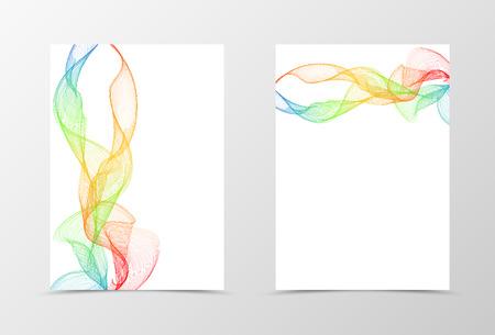 front: Flyer template wave design. Abstract flyer template in orange blue red green colors. Spectrum transparent flyer design. Vector illustration Illustration