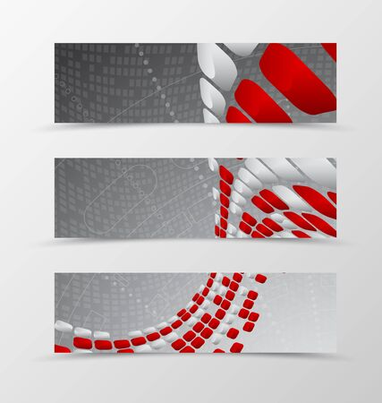 mottled: Set of banner wave design. Light banner for header with red and gray mottled rounded squares on digital geometric background. Design of banner in futuristic style. Vector illustration