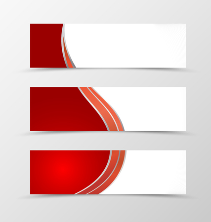 minimalistic: Set of banner wave design. Red banner for header with silver lines. Design of banner in minimalistic style. Vector illustration