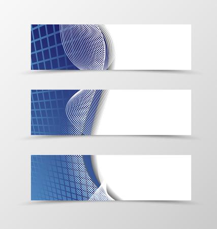 lines vector: Set of banner grid design. Blue banner for header with silver lines. Design of banner in net style. Vector illustration