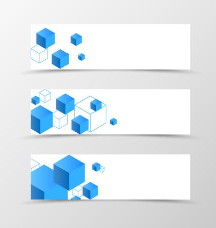 technology banner: Set of banner geometric design. Blue banner for header with 3d squares. Design of banner in digital style. Vector illustration