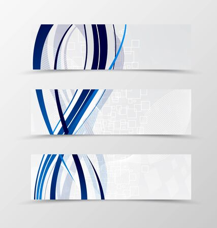 rectangle: Set of banner wave design. Light banner for header with blue lines and digital rectangle background. Design of banner in geometric style. Vector illustration