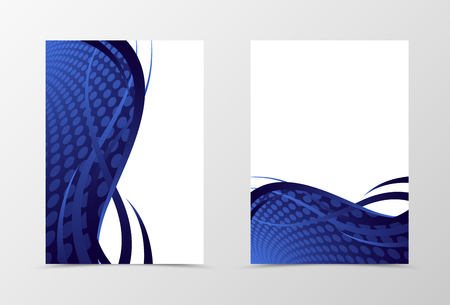 blue design: Grid flyer template design. Abstract flyer template in blue color with lines and circle surface. Wave flyer design. Vector illustration