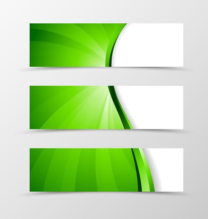 Set von Banner-Wellen-Design. Helle Banner für Header mit grünen Linie. Gestaltung von Banner in Wirbel Spektrum Stil. Vektor-Illustration
