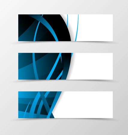 liana: Set of banner wave design. Abstract banner for header with blue and dark lines. Design of banner in dynamic spectrum style. Vector illustration Illustration