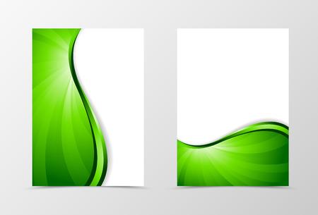 green line: Flyer template vortex design. Abstract flyer template with green line. Bright wavy spectrum flyer design. Vector illustration Illustration