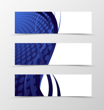 ultramarine blue: Set of banner wave design. Blue banner for header with lines and circle surface. Design of banner in grid style. Vector illustration Illustration