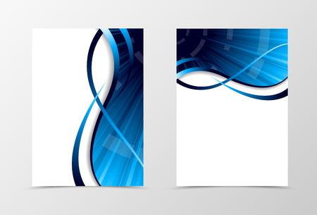 Conception de spectre de modèle de Flyer. Modèle de flyer abstrait avec des lignes bleues. Conception dynamique de flyer d'onde. Illustration vectorielle Vecteurs