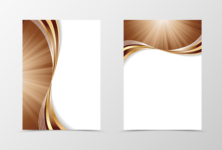 annual report: Flyer template swirl design. Abstract flyer template in coffee with milk colors with gold lines. Wave spectrum flyer design. Vector illustration Illustration