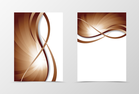 wavy: Flyer template vortex design. Abstract flyer template in coffee with milk color with wavy lines. Swirl wave spectrum flyer design. Vector illustration Illustration