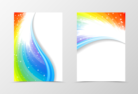 stars sky: Rainbow flyer template design. Abstract flyer template in rainbow color with blue lines and white stars. Spectrum flyer design. Vector illustration Illustration