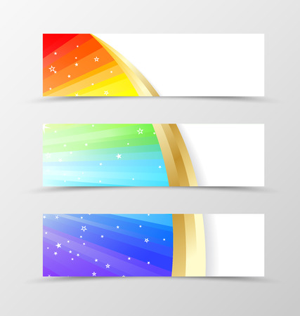 pallete: Set of banner rainbow design. Shiny banner for header in rainbow color with gold lines and white stars. Design of banner in wavy spectrum style. Vector illustration