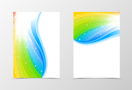 pallete: Rainbow flyer template design. Abstract flyer template in rainbow color with blue line and white stars. Spectrum flyer design. Vector illustration