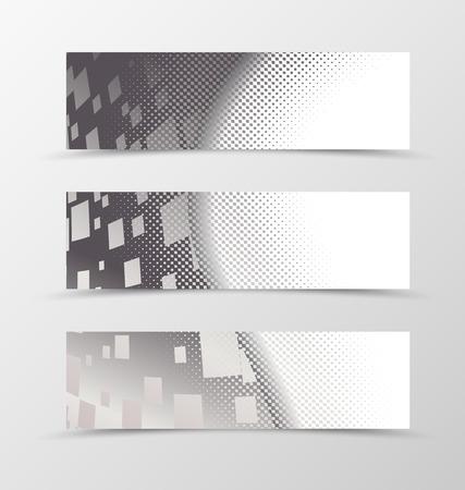 banner effect: Set of banner wave design. Banner for header with halftone effect and digital rectangle background. Design of banner in geometric style. Vector illustration Illustration