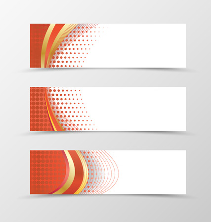 BANNER DESIGN: Set of banner design. Banner for header. Design of banner in red style. Red banner with red wave design Illustration