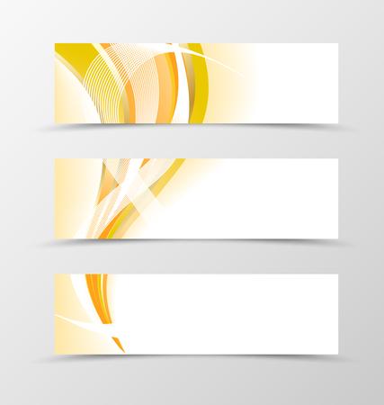 yellow orange: Set of banner orange swooth design. Orange banner for header. Design of banner in orange wave style Illustration