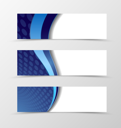 circle design: Set of banner circle grid design. Futuristic banner for header with blue wave. Design of banner in circle surface style. Vector illustration
