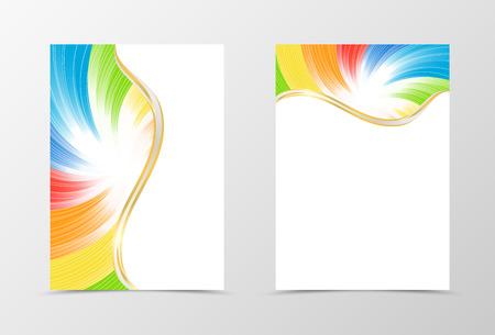 yellow green: Rainbow flyer template design. Abstract flyer template in rainbow color with white lines. Spectrum flyer design. Vector illustration