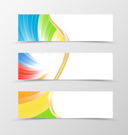 folders: Set of banner rainbow design. Bright vertox banner for header with white lines. Design of banner in spectrum style. Vector illustration