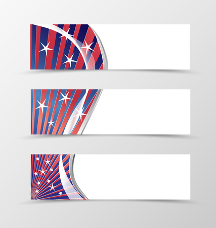 red and white: Set of banner wavy design. Blue banner for header with red lines and white stars. Design of banner in bright colorful style. Vector illustration Illustration