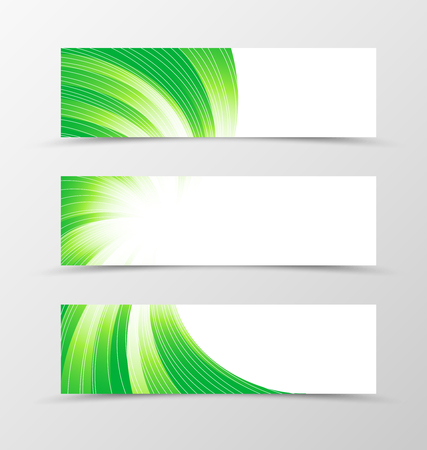 banner design: Set of banner swirl design. Light banner for header in green colors with silver lines. Design of banner in bright wavy style. Vector illustration