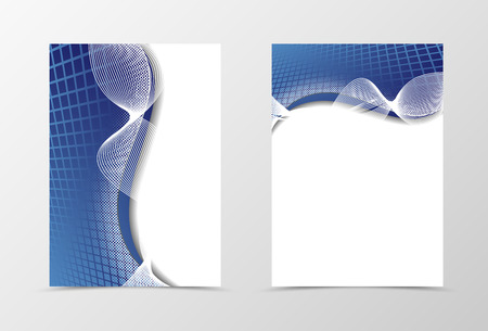 netting: Grid flyer template design. Abstract flyer template in blue color with silver lines in the form of a bow. Netting flyer design. Vector illustration Illustration