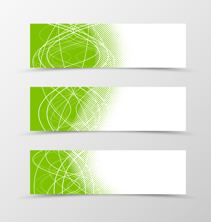 banner effect: Set of banner wavy design. Green banner for header with curly lines. Design of banner with halftone effect. Vector illustration
