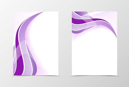 elegant white: Smooth flyer template design. Abstract flyer template in purple color with silver lines. Wavy flyer design. Vector illustration