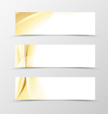 header image: Set of banner gold design. Light banner for header in gold color with white lines. Design of banner in wavy style. Vector illustration