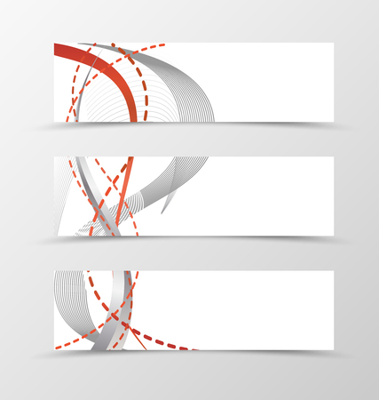 dashed line: Set of banner smooth design. Banner for header with black and dashed red lines. Design of banner in wavy style. Vector illustration