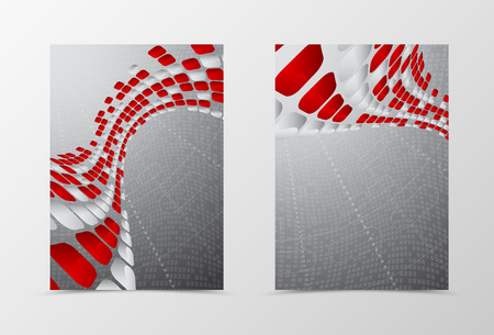 digital background: Flyer template wave design. Abstract flyer template with red and gray mottled rounded squares on digital geometric background. Futuristic flyer design. Vector illustration Illustration