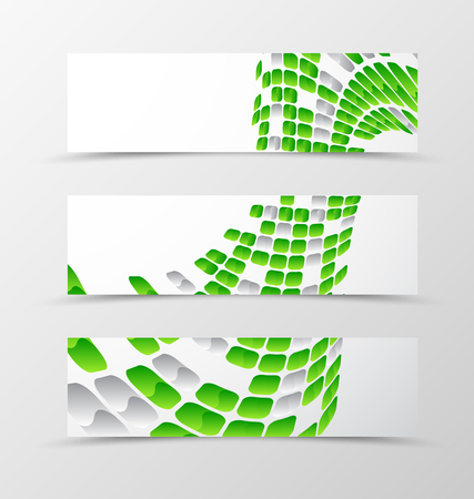 rounded squares: Set of banner wave design. Light banner for header with green and gray mottled rounded squares. Design of banner in geometric style. Vector illustration