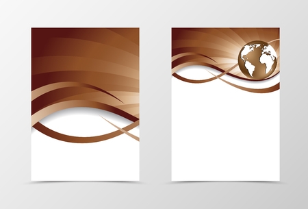 chocolate swirl: Flyer template vortex design. Abstract flyer template in coffee with milk colors with globe. Swirl wave spectrum flyer design. Vector illustration Illustration