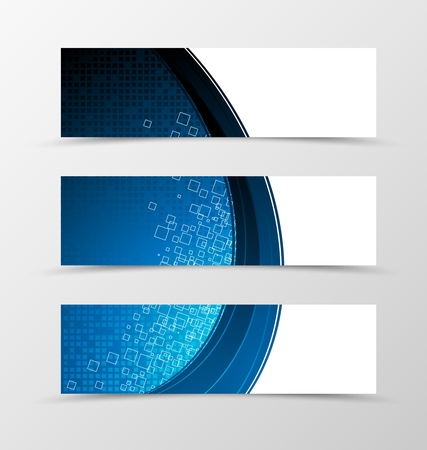 technologic: Set of header banner digital design with square surface in blue color and tecnologic style. Vector illustration